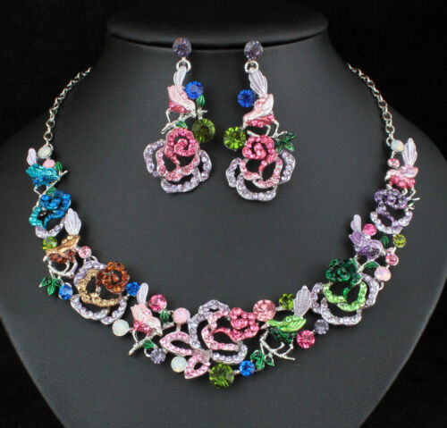 Bird & Rose Austrian Crystal Rhinestone Necklace Earrings Set Prom Bridal N920