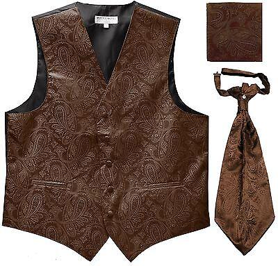 New Men's Paisley Tuxedo Vest Waistcoat & Ascot Cravat & Hankie Wedding Brown ()