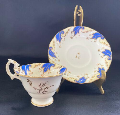 Antique Porcelain Cup & Saucer - Blue Acanthus Leaf Decoration