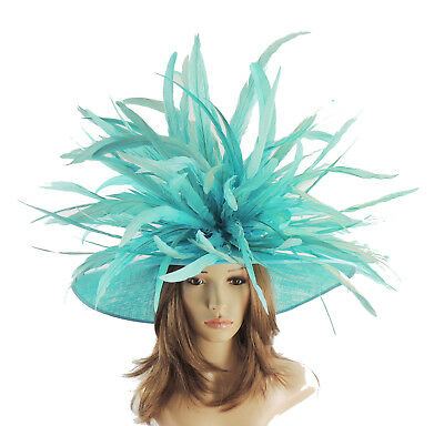 Turquoise Large Ascot Hat for Weddings, Ascot, Derby HC1