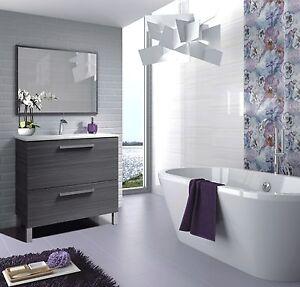 Baltic Bathroom Vanity Wash Basin Base Unit With Sink & Mirror In Ash Grey