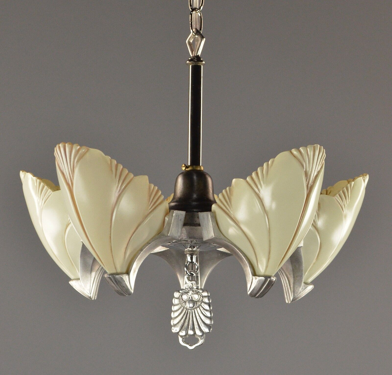 Art deco slipper shade chandelier c1930 vintage antique silver art deco slipper shade chandelier c1930 arubaitofo Image collections