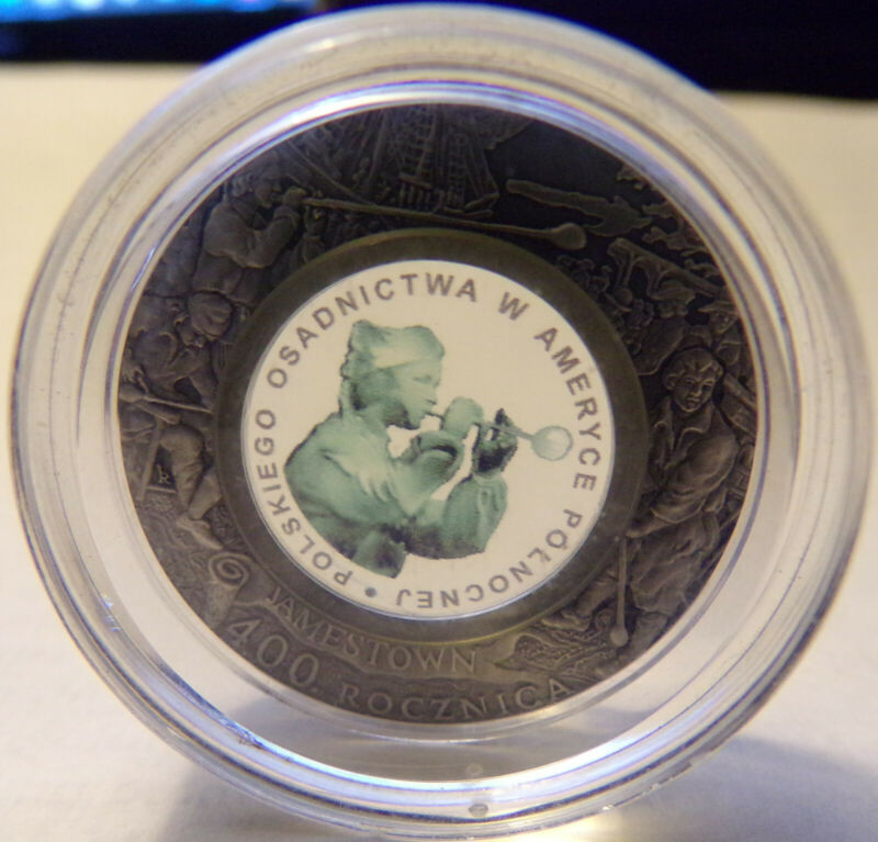 2008 Poland 10 Zlotych Sterling Silver with Glass Insert