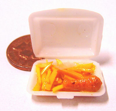1:12 Scale Take Away Fish & Chips In Plastic Box Dolls House Food Accessory