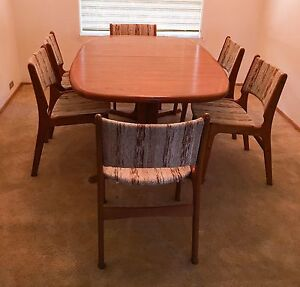 Gorgeous Mid Century Modern Teak Dining Table 6 Chairs