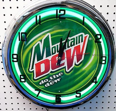 """17"""" MOUNTAIN DEW Do The Dew Sign Neon Clock"""