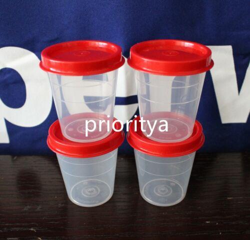 Tupperware Tupper Mini Midgets Container 2oz Set of 4 Chili Red New
