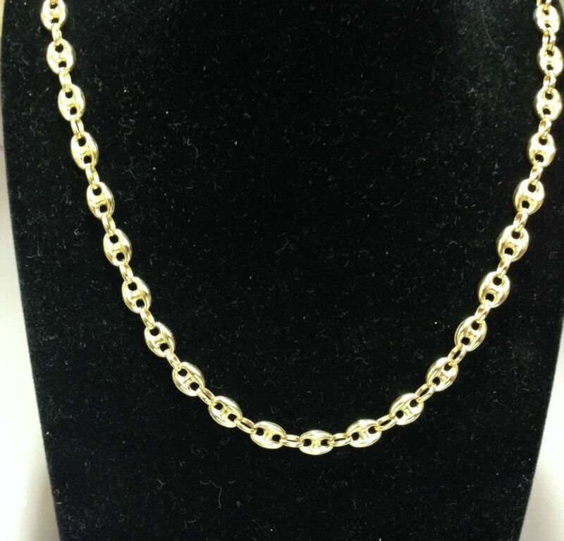"14k Yellow Gold Puffed Anchor Mariner 32"" Chain/necklace 6.9 Mm 24 Grams"