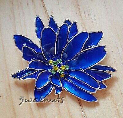 Blue Enamel Flower Brooch Pin Vintage style Chrysanthemum