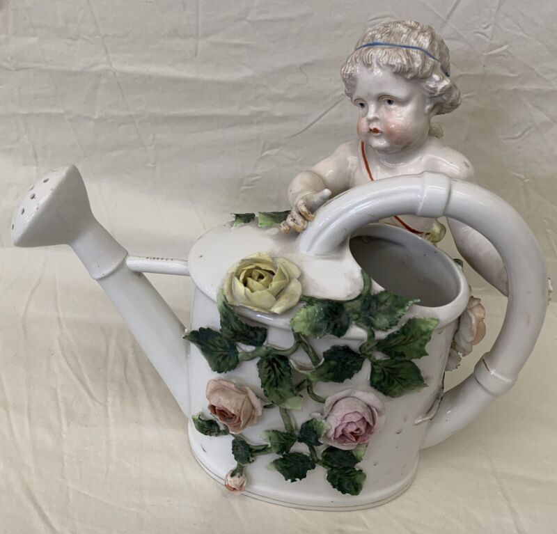 19 Century German Porcelain Cherub Flower Watering Pot   MAGNIFICENT