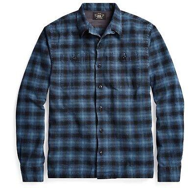 RRL Ralph Lauren Vintage Inspired Indigo Plaid Cotton Camp Shirt-MEN- XL