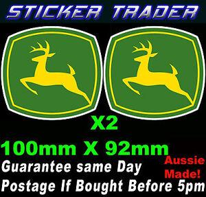 John Deere Logo Decals x 2 - 100mm Truck Sticker Dozer Tractor Grader Trailer