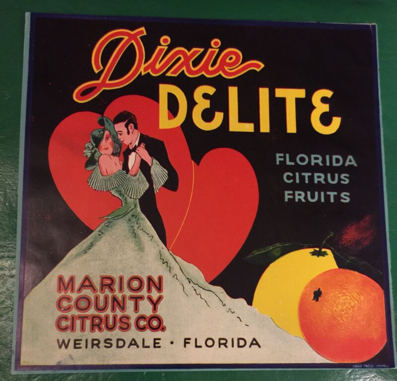 DIXIE DELITE old Florida CITRUS CRATE Label Original 9x9