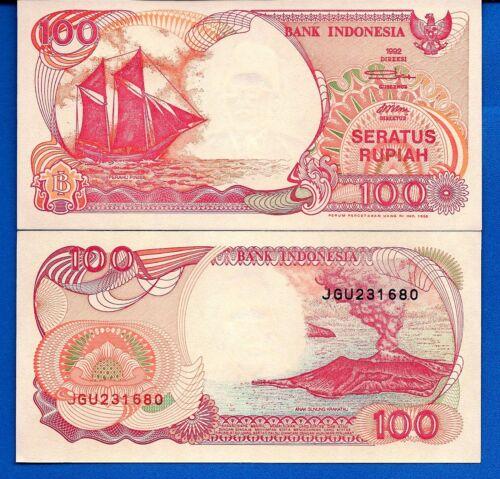 Indonesia P-127 100 Rupiah 1992/1999 Ship Volcano Uncirculated Banknote