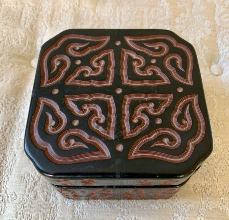 Vintage Chinese Tixi Lacquer Box With Xuande Reign Mark