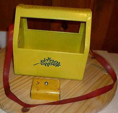 Vintage 1950S Yellow Metal Kiddie Shoe Shine Bank