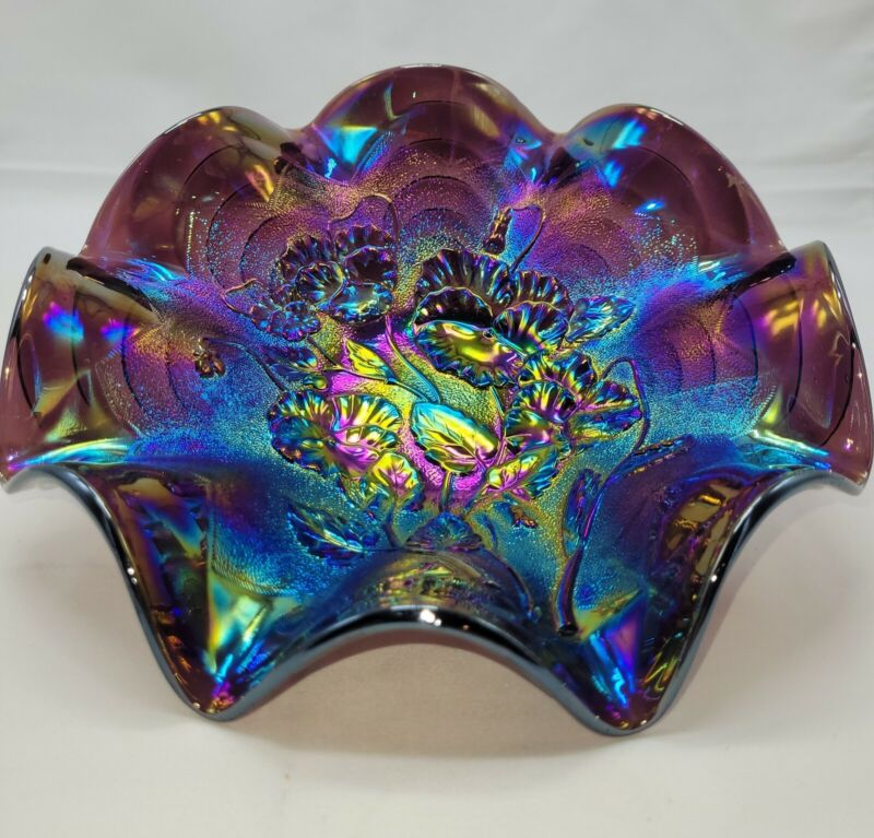 IMPERIAL Purple AMETHYST Carnival Glass PANSY Pattern Ruffled Bowl Vintage NICE