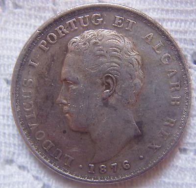 1876 PORTUGAL 500 REIS SILVER COIN