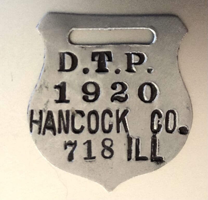 1920 Dog Tax License Tag; Hancock County Illinois; Shield Shaped