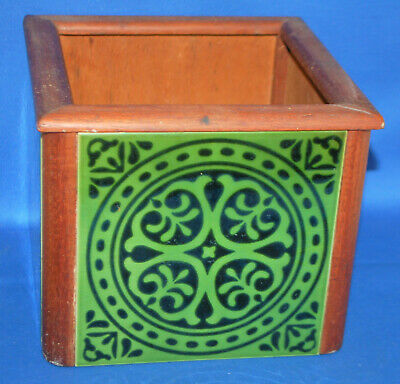 A vintage planter, gothic tile and mahogany, antique style, Pugin