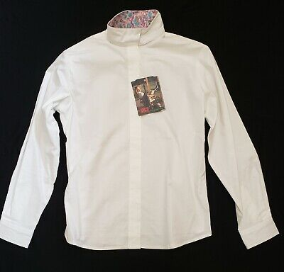 Devon-Aire White WrapCollar Stretch Riding Shirt, Girl 18R or Women's SMALL NEW Devon Aire Stretch Shirt