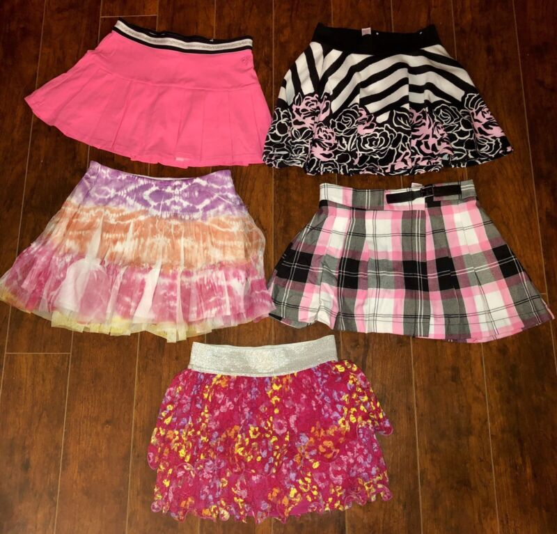 LOT OF GIRLS SKORTS SIZE 8 ALL JUSTICE PRETTY Black Pink School Skirts