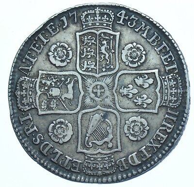 1743 HALFCROWN BRITISH SILVER COIN FROM GEORGE II VF