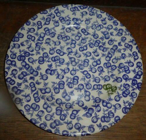 "England EIT Ironstone BLUE Apples Cherrie Fruit 9-3/4"" Plate ChintzTR"