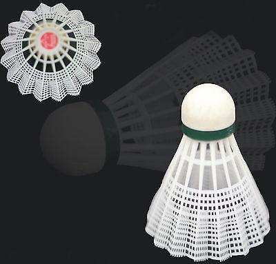 12 x PLASTIC NYLON SHUTTLECOCKS WHITE BADMINTON SHUTTLES CORK BASE