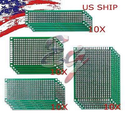 40 Pcs Double-side Protoboard Circuit Prototype Diy Pcb Board 5x7 4x6 3x7 2x8cm