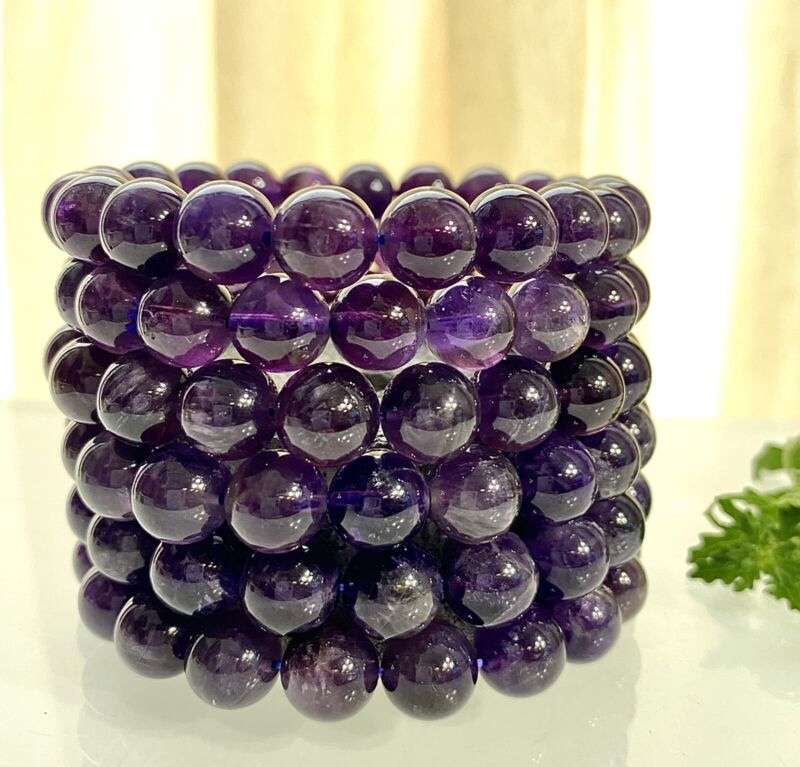 "Wholesale Lot 6 Pcs Natural Amethyst 10mm 7.5"" Crystal Healing Stretch Bracelet"