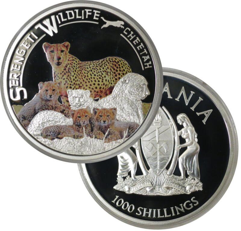 2013 1000 Shillings Tanzania Serengeti Wildlife Cheetah Colorized Proof 925 Coin