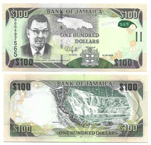 JAMAICA 100 DOLLARS, 2018, P-NEW, ALMOST UNC BANK NOTE