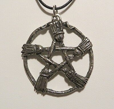 BESOM/BROOM PENTACLE PENDANT NECKLACE PAGAN WICCA  BROOM HEARTH KITCHEN WITCH