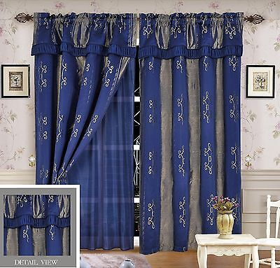 Luxury Lined Curtain Drapes Set +Valance+Sheer Window Treatment 2Panel LIDA BLUE