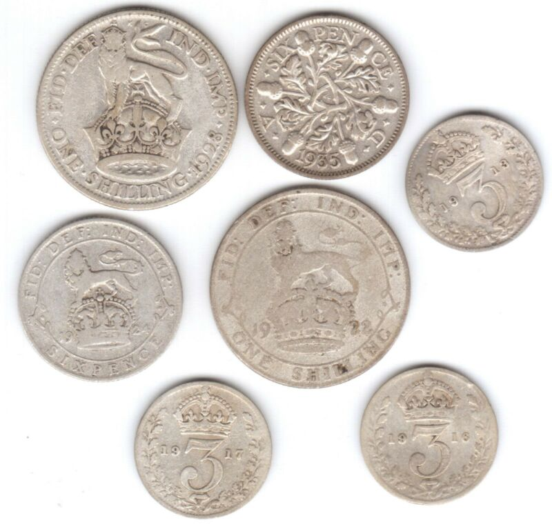 Circulated King George V set, 7 silver coins