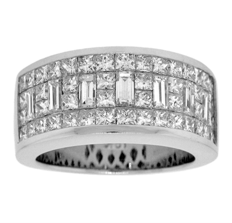 3.30ct Princess & Baguette Invisible Diamond Engagement Ring In 18k White Gold