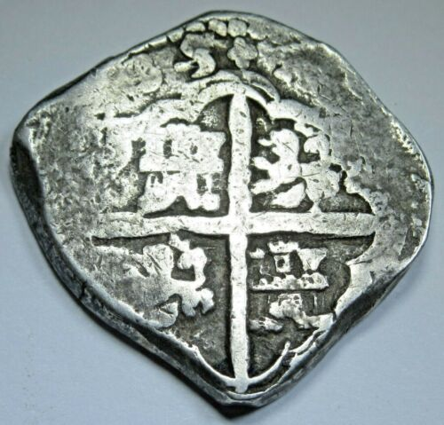 1635 Dated Spanish Silver 4 Reales Cob Four Real Antique Old Pirate Colony Coin