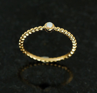 1 Pc 3mm White Opal Stone 14Kt. Gold Plated Braided Stackable Ring/Mid Ring 5~8