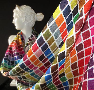 Tolani Tiles Brights Multi Colored Grid Print Scarf 100% Silk   BEST