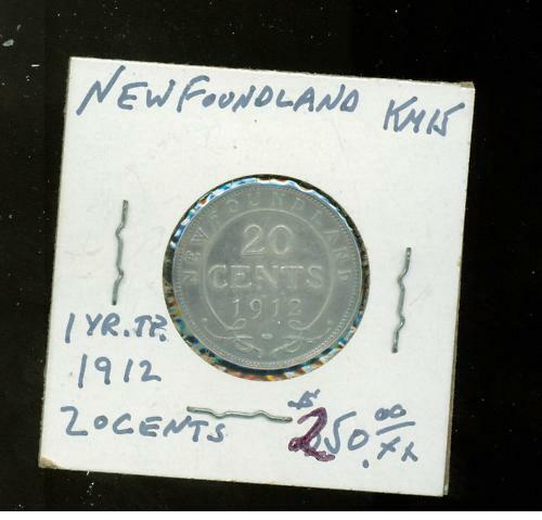 1912 Newfoundland 20  cents KM 15 one year tp