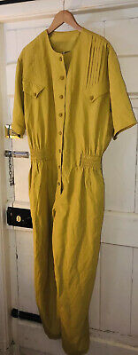 Vintage Summer 1980 Jumpsuit Boilersuit Yellow Cotton 12