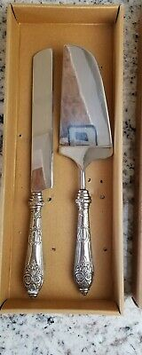 Pier 1 Dessert Cake And Knife Serving Set SILVER in Box