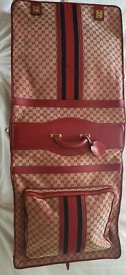RARE VINTAGE GUCCI folding GARMENT BAG monogram RED canvas & Leather w/ stripes