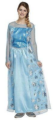 Ladies Blue Long Ice Queen Film Book Day Halloween Fancy Dress Costume Outfit - Ice Queen Halloween Outfit