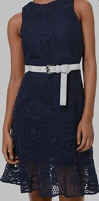 $235 Michael Kors Women Blue Luxe Lace Sleeveless Crew-Neck A-Line Dress Size XL