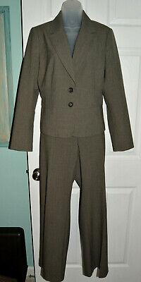 Women's Brown 2pc Suit Tweed Business Pants Jacket Liz Claiborne AXCESS  Size 12