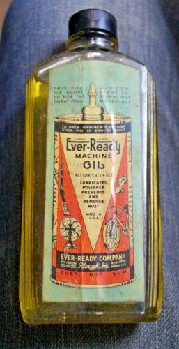 NOS 1930s Ever Ready Machine Oil Glass Advertising Bottle - Handy Oiler Refills