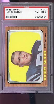 Oakland Raiders Schuhe (1966 Topps #117 Harry Schuh Oakland Raiders NM-MT PSA 8 Graded Football Card)