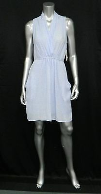- BAR III NWT Light Blue/White Print Sleeveless w/Pockets Tie Waist Dress sz M $79